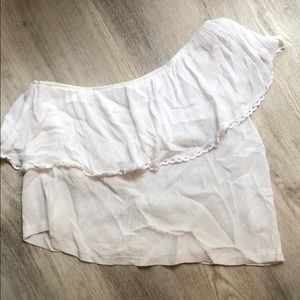 Lush Tops - One shoulder white crop top